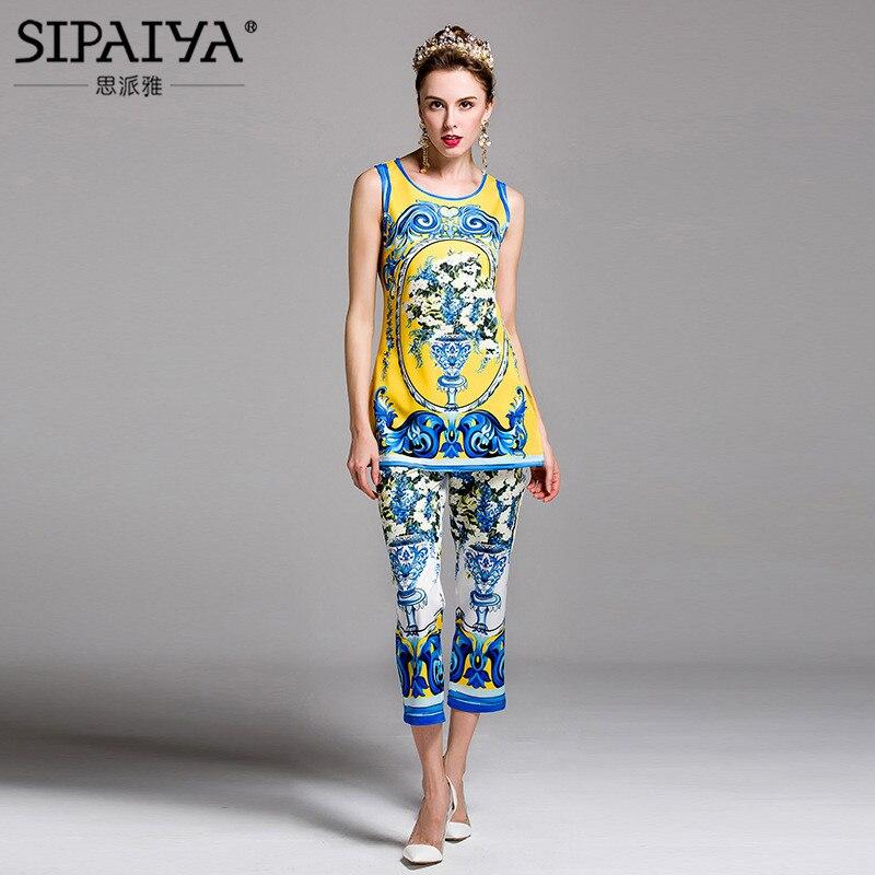 SIPAIYA New Arrivals 2017 font b Womens b font Runway Designer Fashion Vintage Pant Floral Print