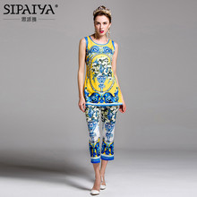 SIPAIYA New Arrivals 2017 Womens Runway Designer Fashion Vintage Pant + Floral Print Summer Blouse Tops Womens 2 Piece Set
