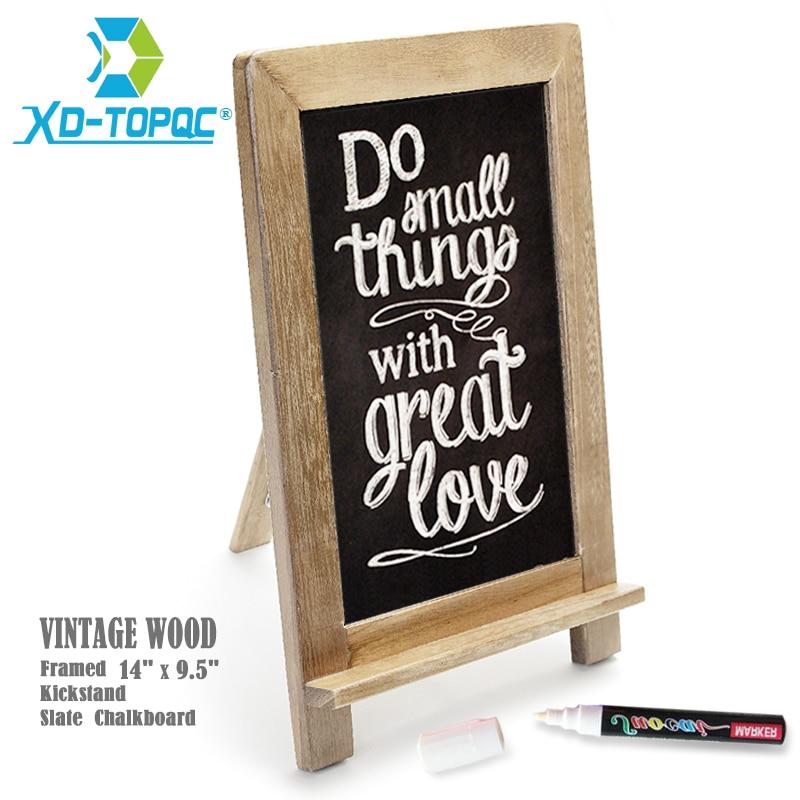 "14""x9.5"" Slate Chalkboard Vintage Kitchen Easel Blackboard Restaurant Wood Frame Standing Memo Black Board Free Fluorescent Pen"