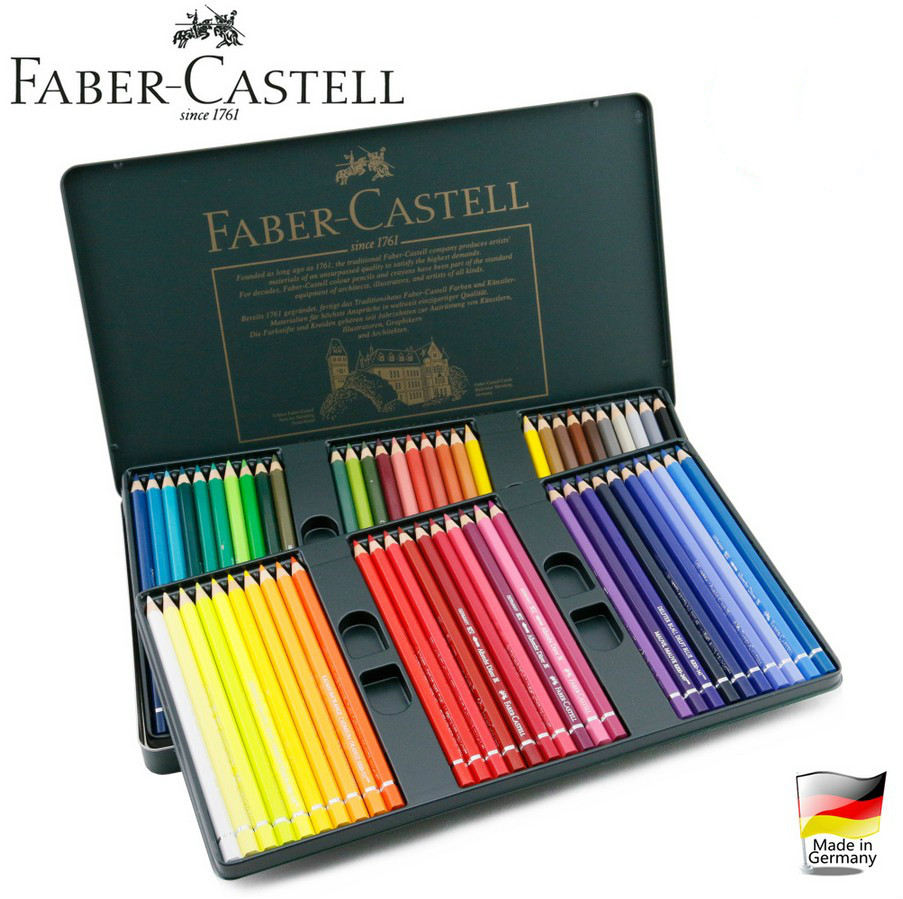 ФОТО Germany FABER-CASTELL Water-soluble colored pencils 12 / 24/ 36/60 colors tin box