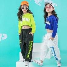 Meninas recém nascidos conjuntos de roupas hip hop hoodie crianças trajes de dança jazz verão bebê meninas conjunto de roupas infantis 160 140