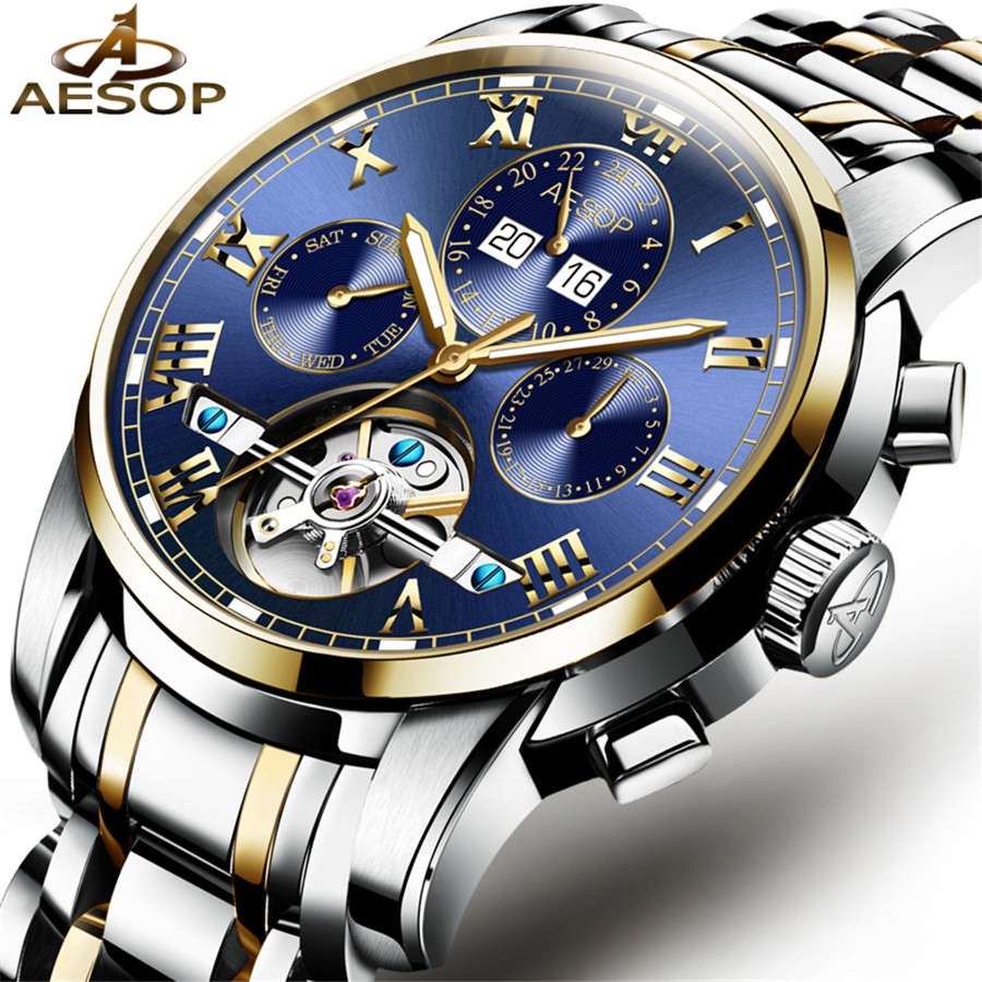 где купить AESOP Mens Watches Top Brand Luxury Automatic Mechanical Watches Tourbillon Steel Clock Men Wristwatches Relogio Masculino 2018 по лучшей цене
