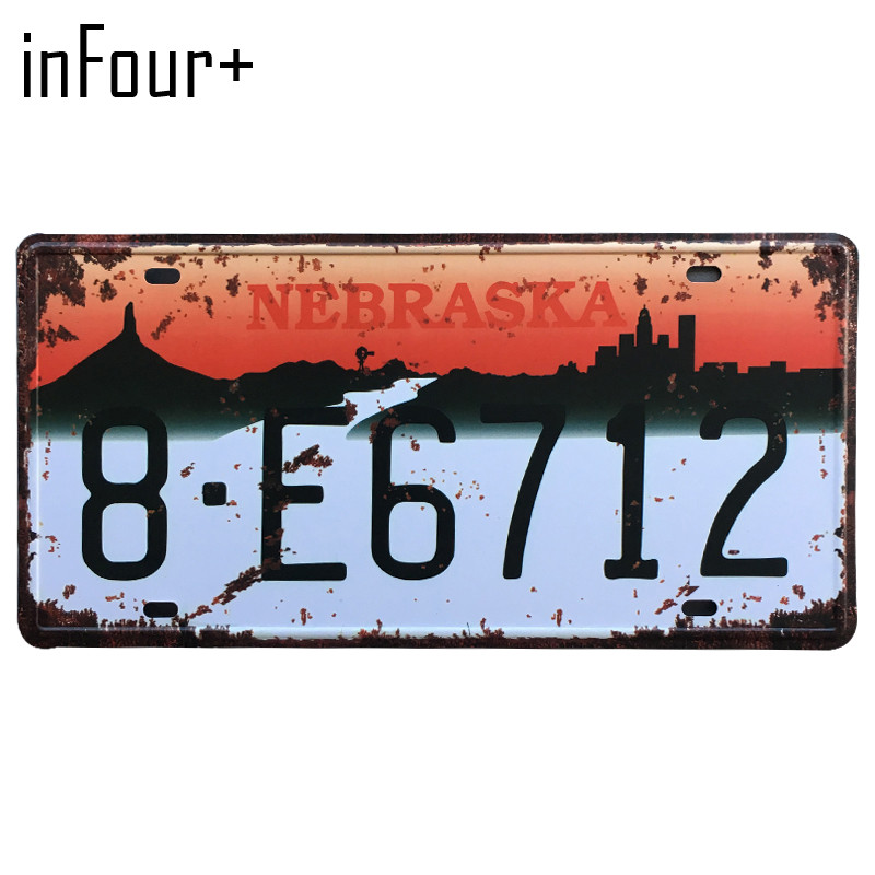 [inFour+] 8.E6712 License Plate Metal Plate Car Number Tin Sign Bar Pub Cafe Home Decor Metal Sign Garage Painting Plaques Signs