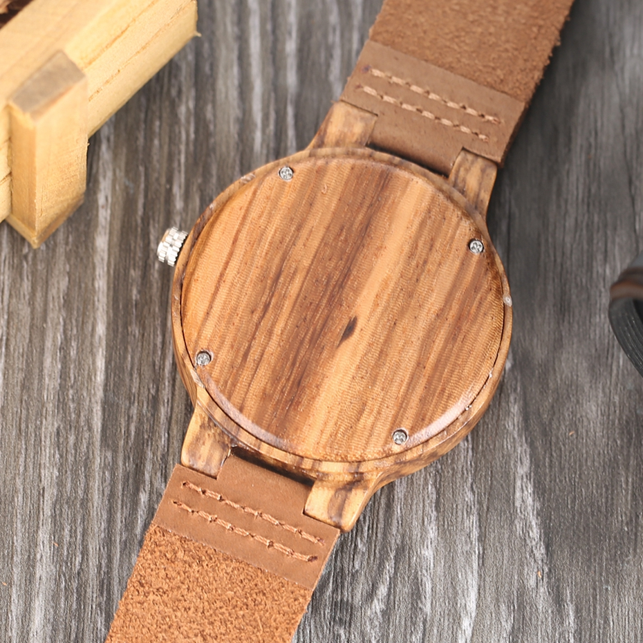 Creative Simple Wood Watches Men's ZebraCork SlagBroken Leaves Face Wrist Watch Original Wooden Bamboo Male Clock Relogio 2017 2018 Christmas Gifts (12)