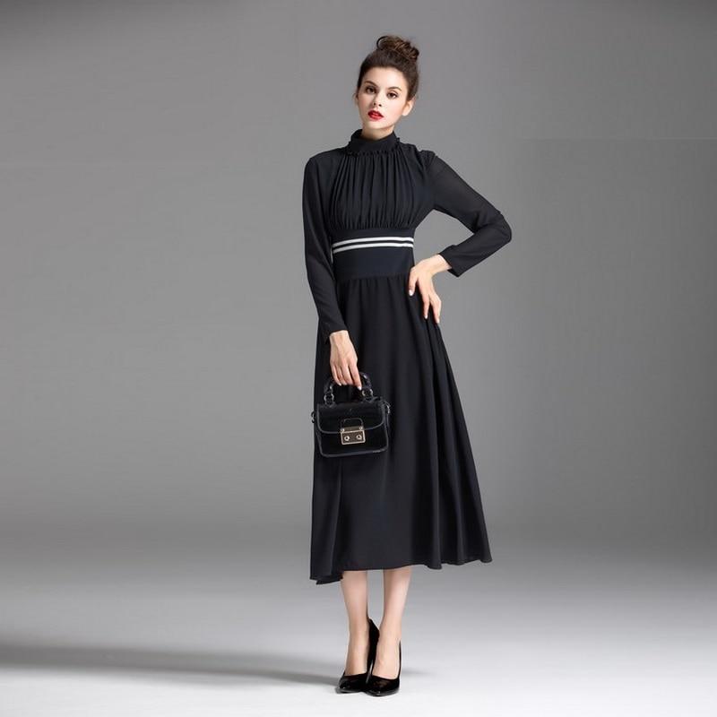 Montant Hiver Partie Robe Automne Empire Femmes 60 Longues Feminino S Patchwork Manches Dres Vintage Plissé Robes 2017 Col Rq5YZnSZ
