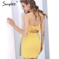 Simplee Backless 2017 Beach Summer Dress Women Sundress Bow Casual Linen Sexy Dress Slim Fit Bodycon