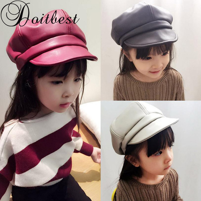 4137c38712d Doitbest 2 8 Years Kids berets Autumn boy girl Leather beret Hats Korea  Children Leather hat warm solid Boys Girls French Cap-in Hats   Caps from  Mother ...