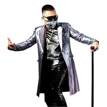 Custom Made Men Fashion Casual Trench Coat Long Slim Fit Suit Jacket Male Hip Hop Dancer Singer Stage Shiny Costume