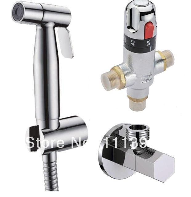 Bathroom Thermostatic Mixer Valve Bidet Spray Water Mixing: Thermostatic Mixer Valve Stainless Steel Handheld Bidet
