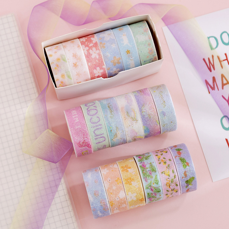 6 Pcs/pack Gilding Girl Heart Unicorn Set Washi Tape DIY Scrapbooking Sticker Label Masking Tape School Office Supply