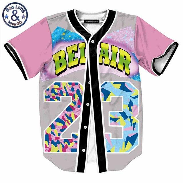 c8e9ed58909 Mens Buttons Homme 3D Shirt Streetwear Tees Shirts Hip Hop Bel Air 23 - Fresh  Prince Chill Flower Custom Made Baseball Jersey