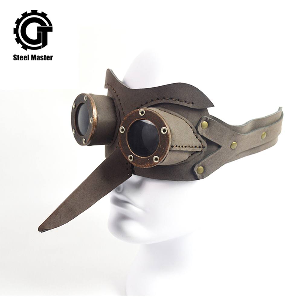 2019 Fashion New Apparel Steampunk Bird Beak Goggles Men Women Unisex Gothic Masquerade Leather Halloween Cosplay Goggle Props