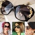 Мода Лето Открытый Очки Очки Солнцезащитные Очки Leopard Солнцезащитные Очки Золотые тона Розы Резьба 18