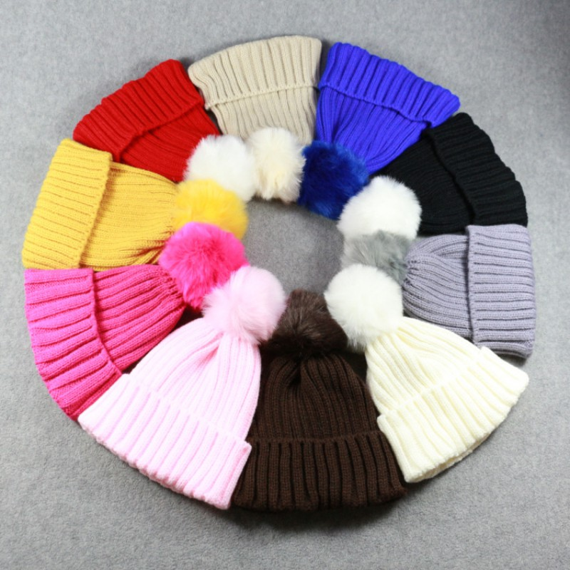 Children Winter Knitted Hat Warmmer Girls Boys Beanies Thick Wool Caps Solid Cute Ball Baby Kids Bonnet
