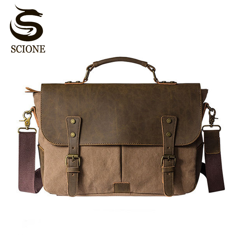 Vintage Men's Messenger Bags Canvas Shoulder Bag Fashion Men Business Crossbody Bag Leather Travel Handbag Male Retro Tote Bags augur fashion men s shoulder bag canvas leather belt vintage military male small messenger bag casual travel crossbody bags