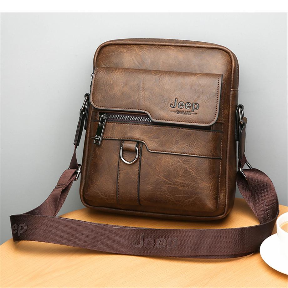 JEEP BULUO Luxury Brand Men Messenger Bags Crossbody Business Casual Handbag Male Spliter Leather Shoulder Bag Large Capacity 9
