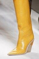 Ковбойские сапоги ярких цветов из змеиной кожи, botas mujer, ковбойские сапоги для женщин, дизайнерские высокие сапоги до колена на массивной тан