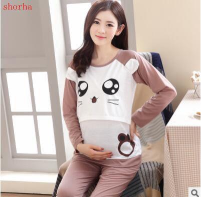 75f9f9166e6 Autumn spring maternity log sleeve pajamas set cartoon pattern lounge  breastfeeding nightclothes nursing sleepwear suits