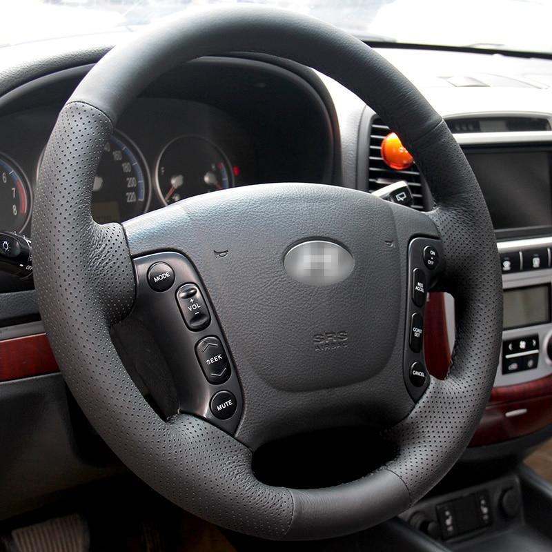Cubierta del volante cosida a mano DIY de cuero artificial negro - Accesorios de interior de coche - foto 2