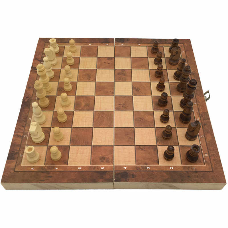 New Design Foldable 3 in 1 Wooden International Chess Set Board Travel Games Chess Backgammon Draughts Entertainment#293289