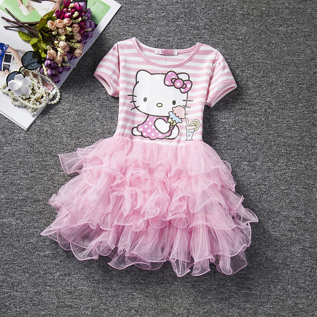 New 2016 Pink Puffy Kids Dresses Cute Hello Kitty Design Stripe Children Clothing Girl Dress Cartoon