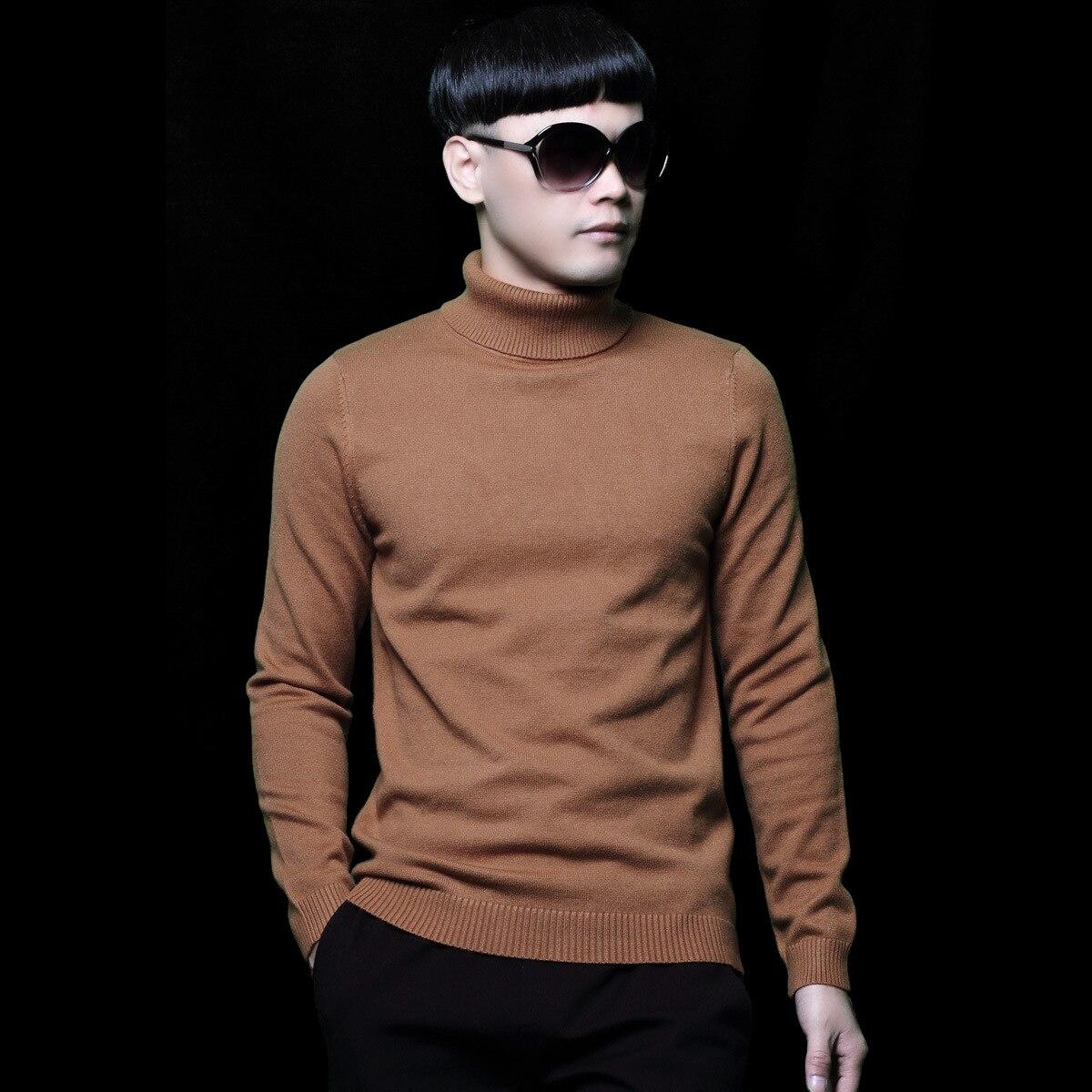 Oversized Sweaters Mens Long Sleeve Boys Brown Sweater Male Winter Knitted Turtleneck Pullover New Arrival Men Knitwear 4xl 5xl