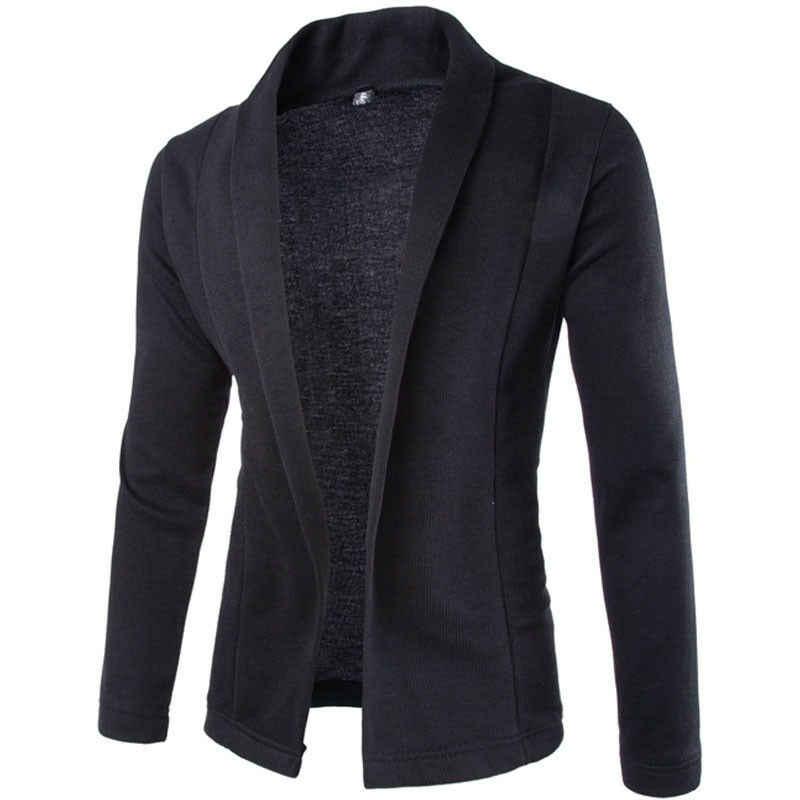 メンズブレザービジネス作業ファッション高品質秋冬カジュアルスリムフィットソリッドなしボタンスーツコートジャケット生き抜く