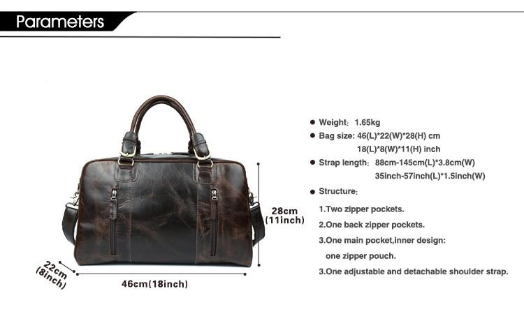 47e3c163bec370 TIDING men travel bag vintage duffle bag thick leather weekend bag ...