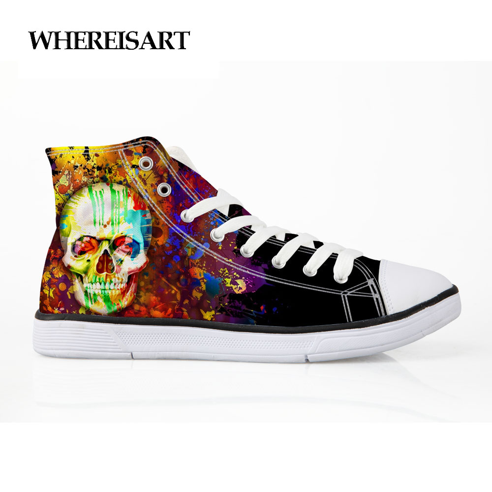 WHEREISART Mens High Top Sneakers Painting Black Shoes Male Graffiti Skull Shoes Casual Breathable Vulcanize Shoes High Quality