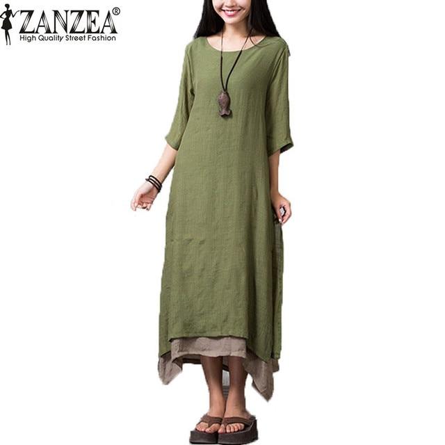 ZANZEA 2017 Summer Dress Women Casual Loose Vestidos O Neck Boho Cotton Linen Long Maxi Shirt Vintage Dresses Plus Size
