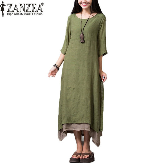 Zanzea 2017 summer dress mulheres casual solto vestidos o pescoço camisa de linho de algodão boho longo maxi vestidos plus size do vintage
