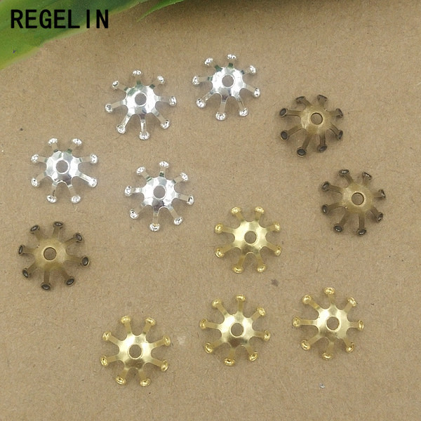 REGELIN Vintage Filigree Jewerly Spacer Flowers Motif Charms Loose Bead End Caps Handmade 100pcs 10mm for DIY Retro jewelry