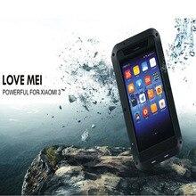 Original Love Mei Waterproof case for xiaomi mi3 case Metal Aluminum case cover phone cases xiaomi mi3 Gorilla Toughened Glass