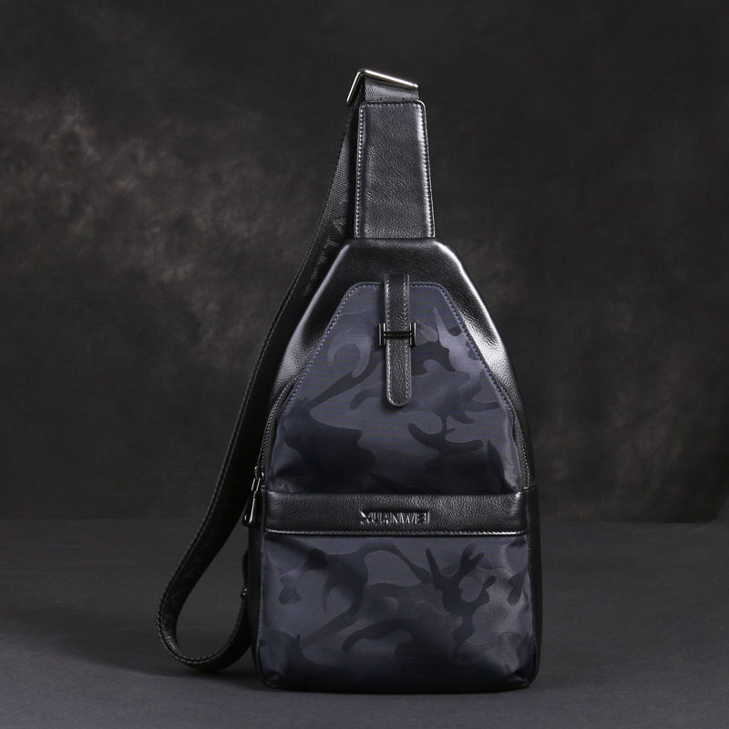 XuanWei Cool Camouflage Men Bags Soft & Light & big capacity Canvas Nylon with Genuine Leather Messenger Waist Packs (XW-3606)