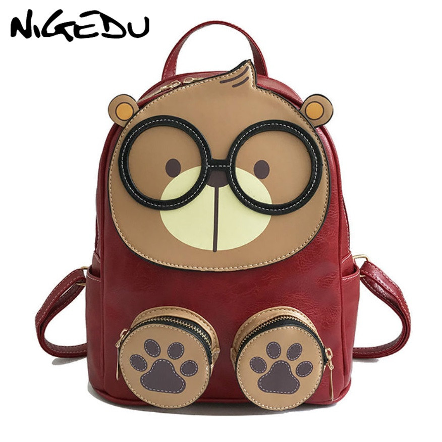 Lovely Cartoon Backpack Women Small PU Leather School Bags for Teenage Girls Travel Backpack children Rucksack Mochila Mujer eyes in love fashion leather backpack female small school backpack for teenage girls quality pu rucksack women bags mini mochila page 1