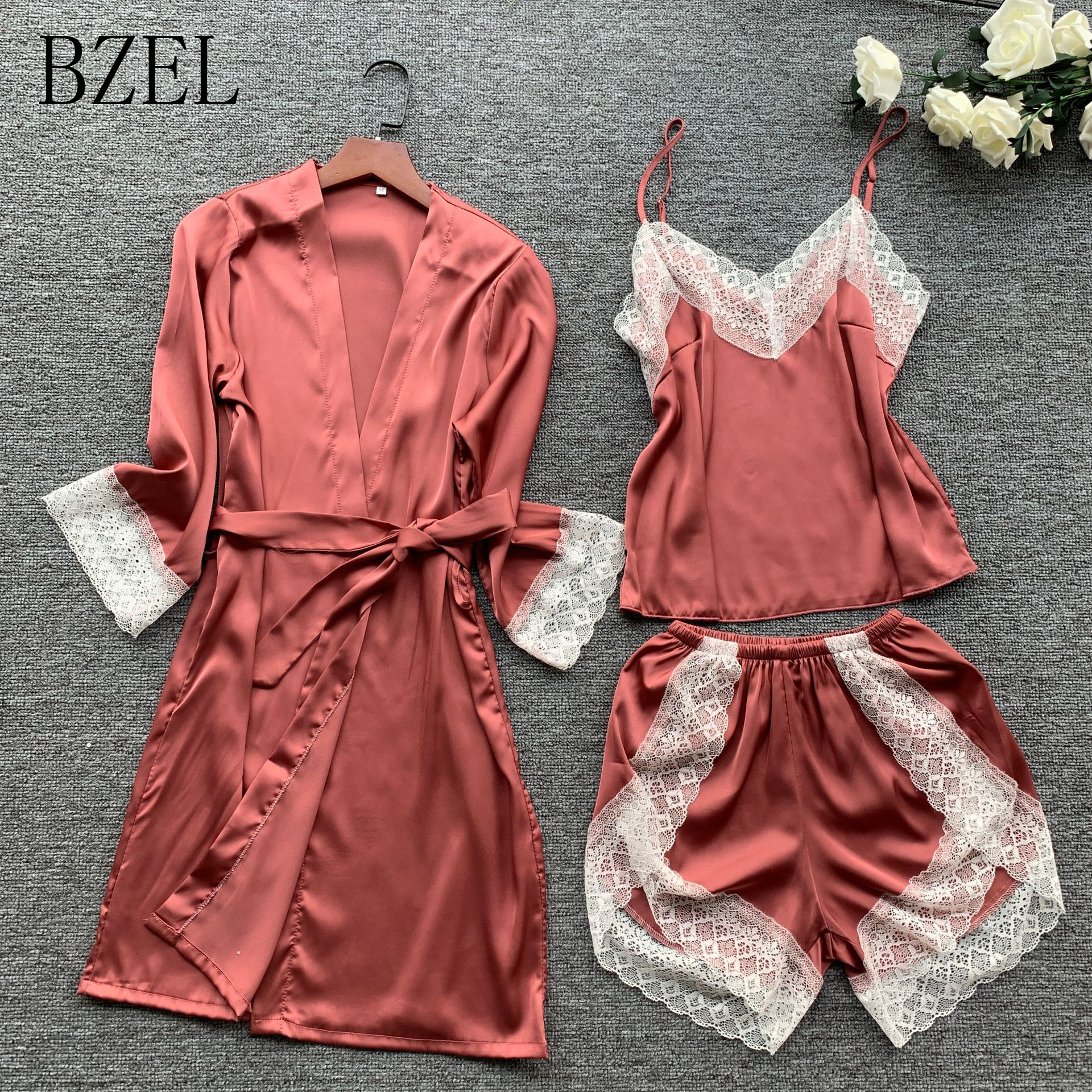 BZEL Sexy Lace Pajama Sets Silk Satin Pijama For Women V-nevk Sleepwear Sling+Shorts+Robe Nighty Set 3PCS Stylish Ladies Pyjamas