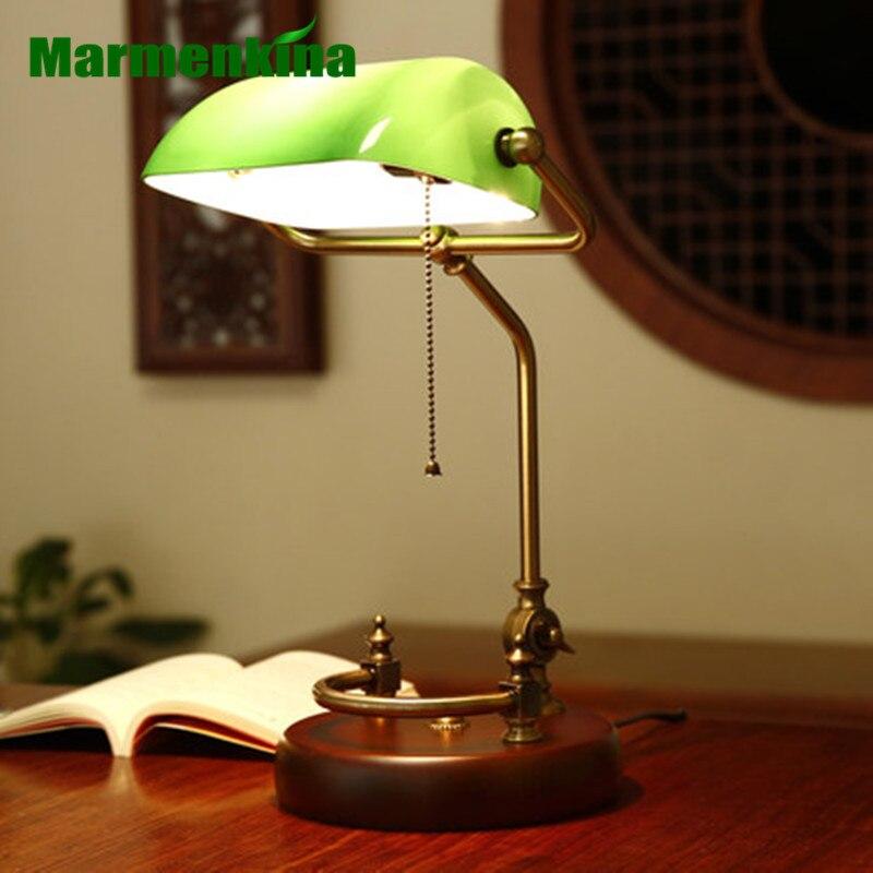Bankers lampe de bureau table traditionnelle luminaire verre vert abat jour bois base Table bureau lampe de bureau E27 AC110-240V