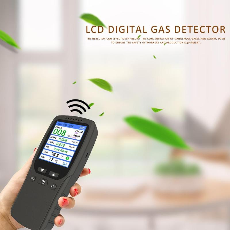 8 in 1 Gas Analyzer PM2.5/HCHO/TVOC/AQI Air Quality Monitor Digital Temperature Humidity Meter Monitor for Household Car8 in 1 Gas Analyzer PM2.5/HCHO/TVOC/AQI Air Quality Monitor Digital Temperature Humidity Meter Monitor for Household Car