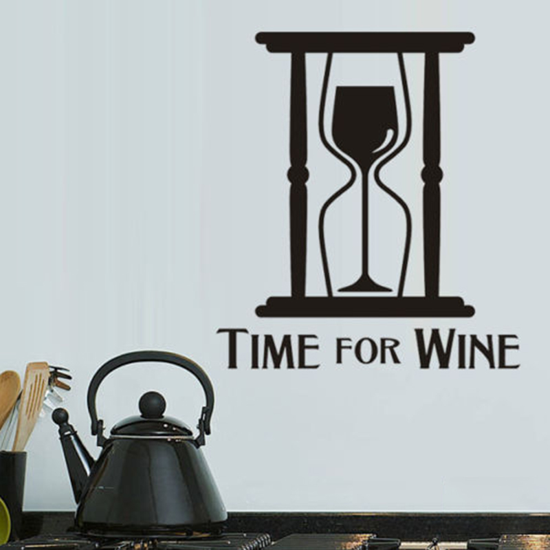 Wine Time Kitchen Food Funny Wall Art Stickers Decals
