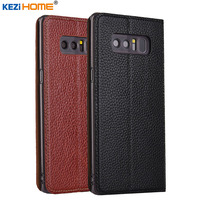 For Samsung Galaxy Note 8 Note8 Case KEZiHOME Litchi Genuine Leather Flip Stand Leather Cover For