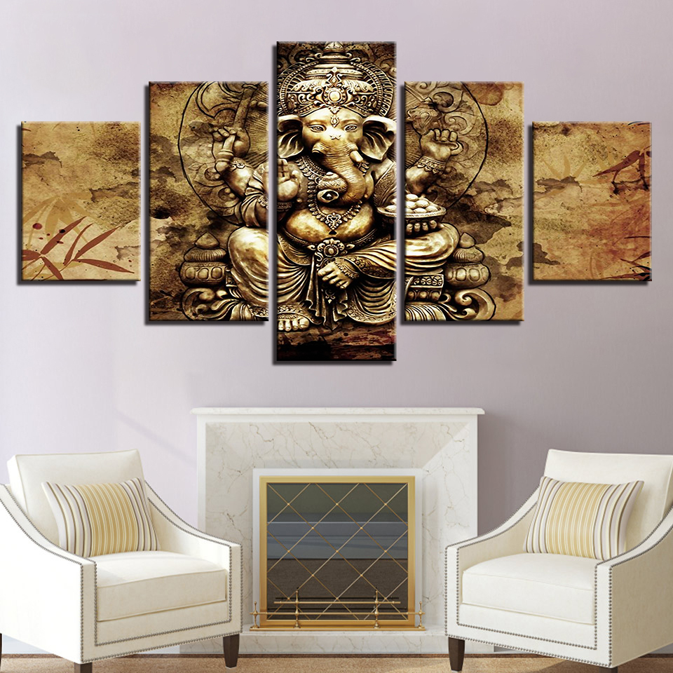 Painting Frame Art Poster Wall Modular 5 Panel Lord Ganesha Modern Picture Home Decoration Print On Canvas For Living Room
