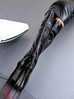 Botas feminina сексуальные туфли на платформе женские облегающие сапоги выше колена Черный промежность кожа дождь botines очень высокий каблук