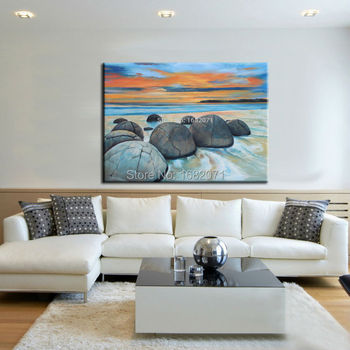 Skills Artist Hand-painted High Quality Natural Landscape Oil Painting On Canvas Modern Abstract Stone Oil Painting Decorative