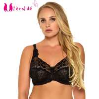 Mierside DW169 New Bra Style Big Size Breathable Brassiere Single Sexy Floral Lace Transparent Cup Bralette