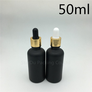 Free shipping 200pcs 50ml black frosted glass essential oil bottle with gold aluminum ring dropper glass perfume bottle фото