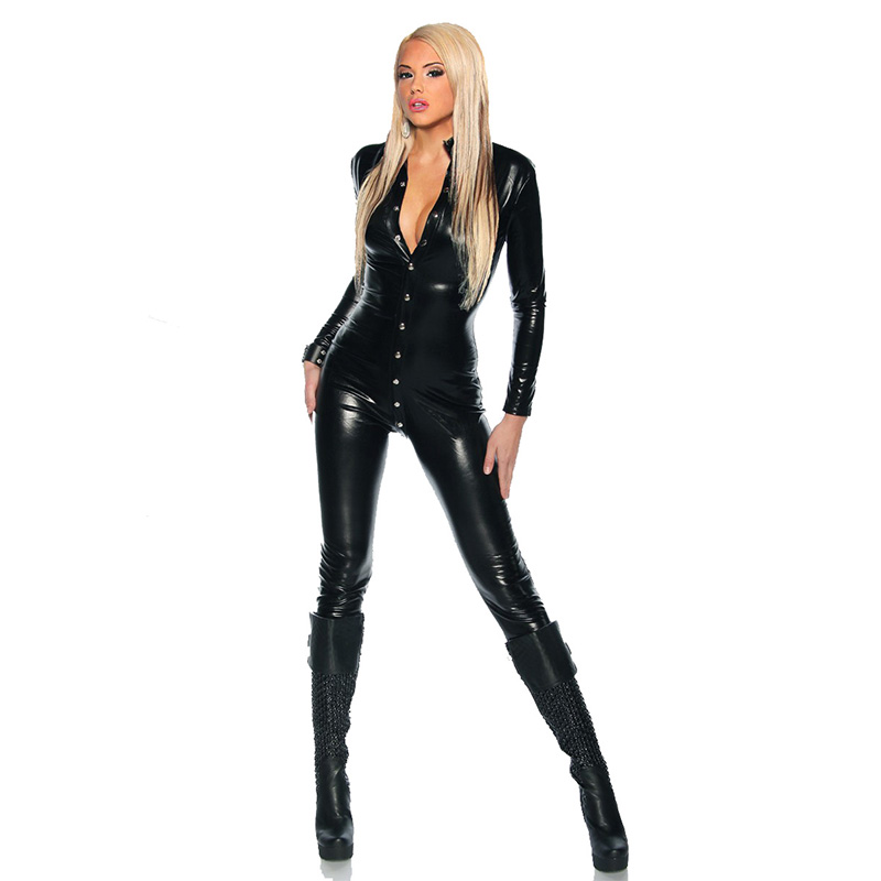 Stylish Woman Long Catsuit Spandex Fashion Single-Breasted Buttons Design Bodycon Faux Leather Clubwear Sexy Jumpsuit