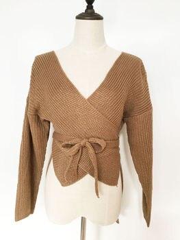 Hirigin Women Sweaters Crop Top Casual Long sleeve Knitted Loose Sweater Knitwear For Women Belt Deep V Neck Outwear Fashion 8