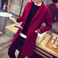 Autumn men's woolen woolen coat winter thick coat jacket Korean version of the long section of leisure Slim men's windbreaker