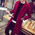Otoño de los hombres de lana de lana abrigo de invierno gruesa chaqueta de la capa versión Coreana de la larga sección de ocio de los hombres Delgados cazadora de