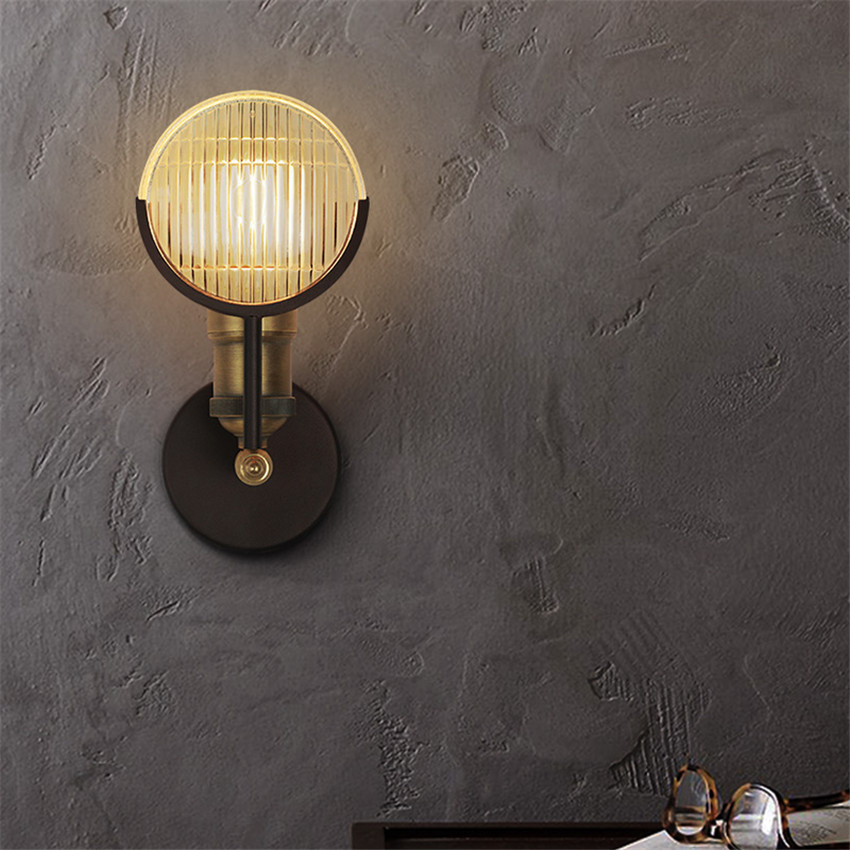US $51.52 12% di SCONTO Retro Loft Edison Lampada Da Parete Camera Da Letto  Vecchia Auto Applique Da Parete design per la casa up imbottiture rustico  ...